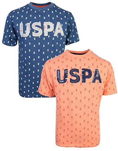 (U.S. Polo Assn. Boy's Short Sleeve Graphic T-Shirt (2 Pack) Peach/Navy, Medium/10-12')