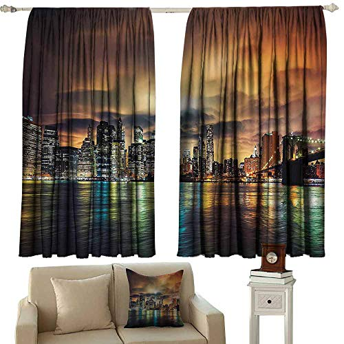 NYC Decor Collection Bedroom balcony living room curtain View of Manhattan At Sunset Dramatic Sky Clouds Dark Evening Architecture Picture privacy protection 55