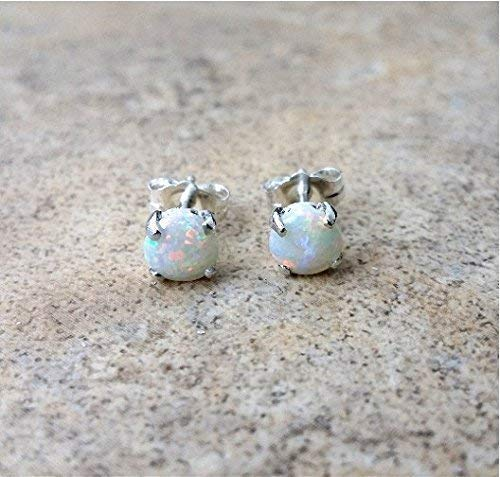 54320a284 Amazon.com: Genuine Opal 5mm(October Birthstone) stud earrings in ...
