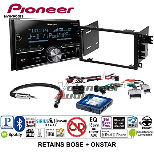 Volunteer Audio Pioneer MVH-S600BS Double Din Radio Install Kit with Bluetooth USB/AUX Fits 2003-2005 Chevrolet Blazer, 2003-2006 Silverado, Suburban (Bose and Onstar) ()