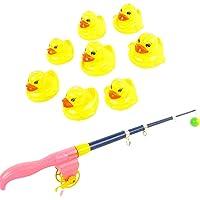 BAOBLADE 9Pcs Fish Game Magnetic Fishing Pole Rod Duck Animal Model Set Kid Toy Educational Gift