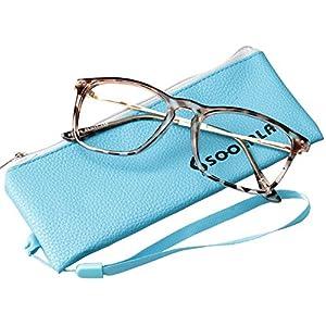 SOOLALA Designer Large Horn Rimmed Clear Lens Eyeglass Frame Reading Glasses, 1.5, Tortoise