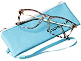 SOOLALA Designer Large Horn Rimmed Clear Lens Eyeglass Frame Reading Glasses, Tortoise, 2.75