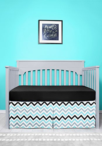 Bedskirt Pattern - SUGAR Q Pure Cotton Blue Grey Black Stripe Zigzag Pattern Pleated Crib Bed Skirt for Baby Nursery Toddler Bedding Boys Girls 16