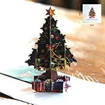 BonusLife Greeting Cards Christmas Gift 3D Cards Pop Up Christmas Tree Happy New Year Merry Christmas