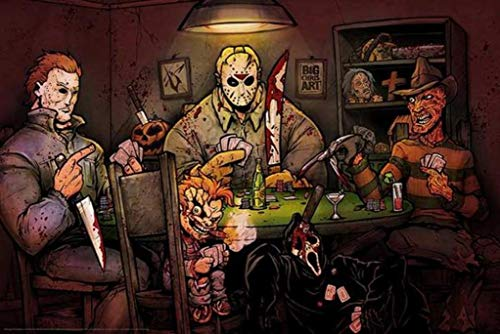 Get Down Art Slashers Playing Poker Horror Movie Characters Parody by Big Chris Poster 36x24 Inch