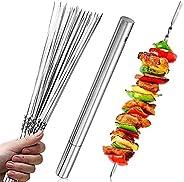 Kweilin Espetos para churrasco Kabob – 20 varetas de churrasco de aço inoxidável plano com tubo de armazenamen