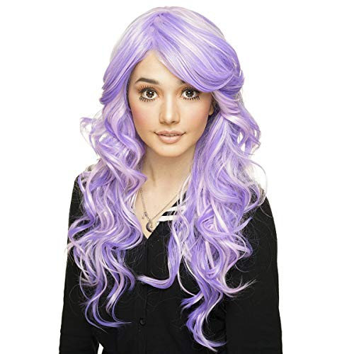 Synthetic Wigs Hair Extensions & Wigs 60cm Lolita Mixed Purple Pink Long Wavy Heat Resistant Halloween Cosplay Wig Evident Effect