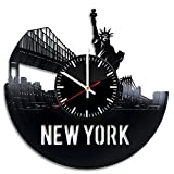 Welcome Dzen Store New York Record Wall Clock – Get unique of office room wall decor – Gift ideas for girls and boys – City Skyline Unique Art Design