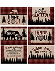 50 Lumberjack Baby Shower Thank You Cards, Boy Baby, Mama Bear Baby Shower Favor, Woodland Baby Shower, 50 Thank You Cards and Envelopes