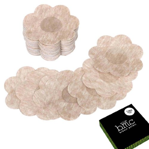 Petal Shaped (BMC 40 Pair Womens Flower Shaped Adhesive No Show Disposable Nipple Cover Breast Petal Pasties)