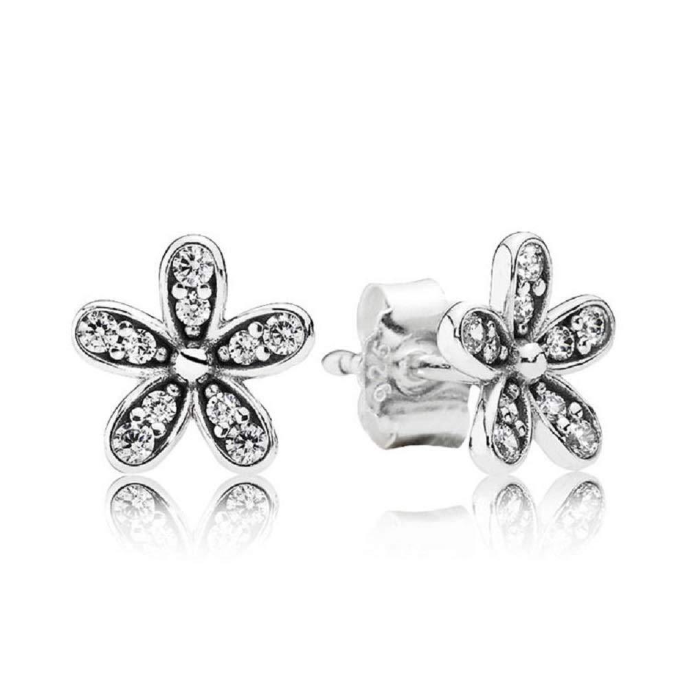 S925 Silver Earrings for Women Fancy Studio Dazzling Daisies Stud Earrings