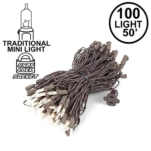 Novelty Lights 100 Light Frosted White Christmas Mini String Light Set, Brown Wire, Indoor/Outdoor UL Listed, 50' Long ()