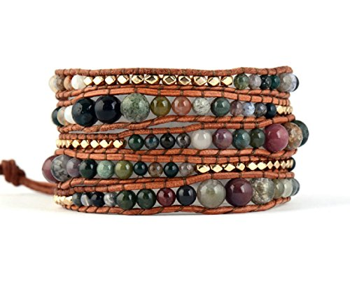 Leather Bracelet Indian Agate Beads product image