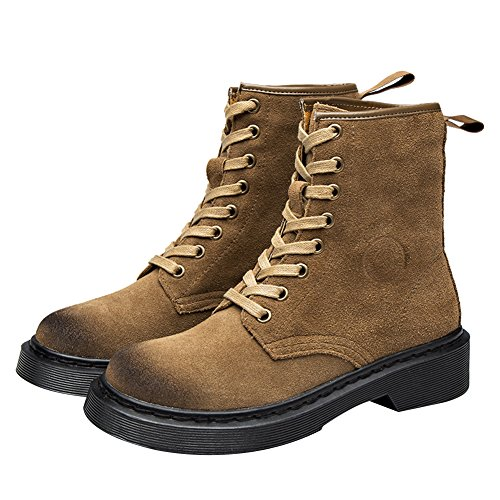 rismart Women's Motorcycle Mid-Calf Chunky Heel Military Trendy Suede Combat Boots Khaki T8my3