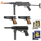 king arms green gas - BBTac Airsoft Gun Package - World War II Collection of 4 Airsoft Guns, Spring Rifles and Pistols, 4000 BB Pellets, Great for Starter Pack Game Play