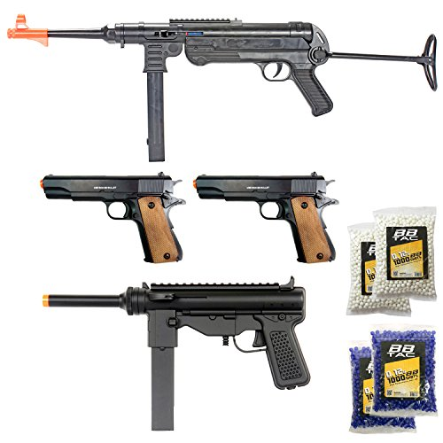 BBTac Airsoft Gun Package - World War II Collection of 4 Airsoft Guns, Spring Rifles and Pistols, 4000 BB Pellets, Great for Starter Pack Game Play (Best Starter Aeg Airsoft Gun)