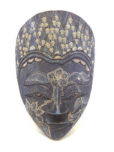 (Wooden Batik Mask Hand Carved Wood Bali Art Wall Decor Mask 12