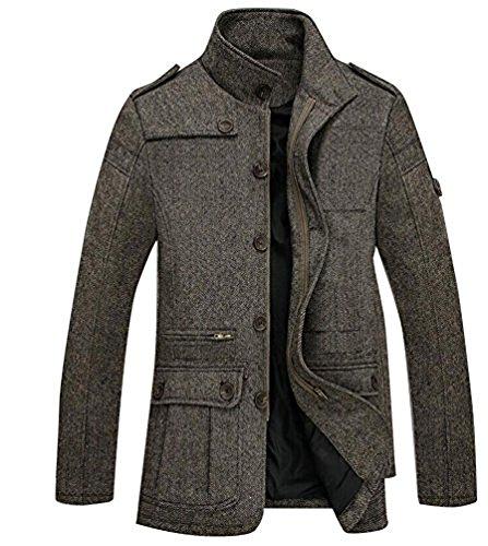 Fit Mélange Brinny Hommes D Manteau Coat wool Grau Blouson Laine Blend Hiver Jacket Pour Slim Chaud Douce wwIzpq
