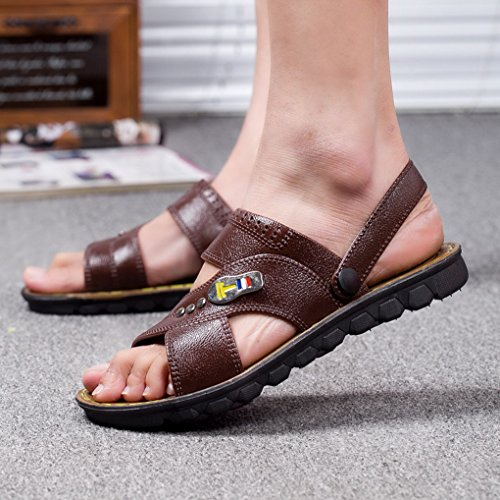 ACMEDE Men Sandals Breathable Anti Slip Summer Fashion Holidays Pool Men Flip Flop Brown YVxHve