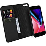 Zover iPhone 7 8 Wallet Case Detachable Genuine Leather Luxury Series Support Wireless Charging Magnetic Car Mount Holder Kickstand Feature Card Slots Magnetic Closure Gift Box Black