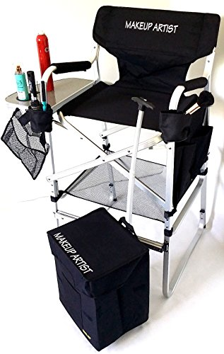 "TuscanyPro Tall Makeup Chair & Makeup Cart COMBO -Side Tray, 2 Brush Holder-Trash Bag- 29"" Seat Height-YOUR NAME PRINTED ON THIS CHAIR."