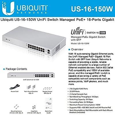 Ubiquiti US-16-150W UniFi Managed 16-Ports Gigabit Switch with 2-Ports SFP, PoE+/Passive PoE, Rack Mountable, 36 Gbps Switching Capacity.