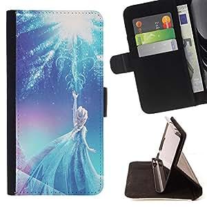 - Queen Pattern FOR Apple Iphone 5C /La identificaci????n del cr????dito ranuras para tarjetas tir????n de la caja Cartera de cuero cubie - fairy princess blue winter children