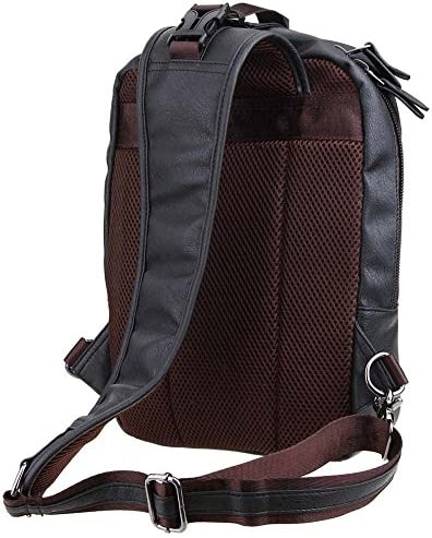 Zebella Men's Letaher Unbalance Chest Pack Multipurpose Backpack Crossbody Shoulder Bag Travel Sling Bag