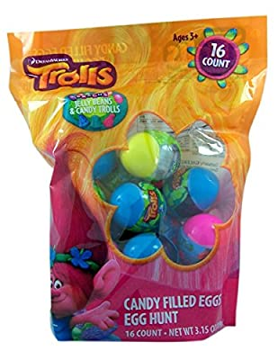 Dreamworks Trolls Easter Egg Hunt Candy Filled Eggs, 16 Count by Galerie
