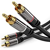KabelDirekt RCA Stereo Cable/Cord (3 ft/feet short, Dual 2 x RCA Male to 2 x RCA Male Audio Cable, Digital & Analogue, Double-Shielded, PRO Series) supports (Amplifiers, AV Receivers, Hi-Fi)
