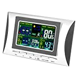 fosa LCD Digital Humidity & Temperature Display Clock with Alarm and Snooze Function Real Time Thermometer Hygrometer Indoor/Outdoor Sensor (Weather, Moon Phases, Date, Time, Week, Temp, Humidity)