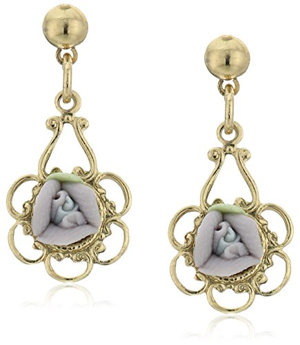 1928 Jewelry Lavender Purple Porcelain Rose Drop Earrings