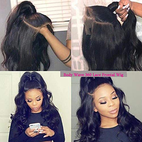 Hisakus Glueless 360 Lace Frontal Wigs prepluked Body Wave Lace Front Full Lace Human Hair Wigs For Black Woman with Baby Hair 100% Unprecessed Peruvian Virgin Remy Human Hair Extensions 360 Lace Wigs