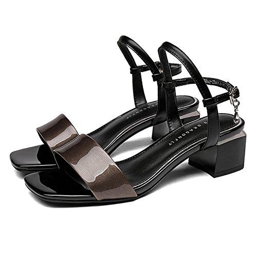 Toe tac Dew Zapatillas Metal moda mujer Zapato Altura colgante LIXIONG Rhinestone profesional verano del 0OCqTx8ww