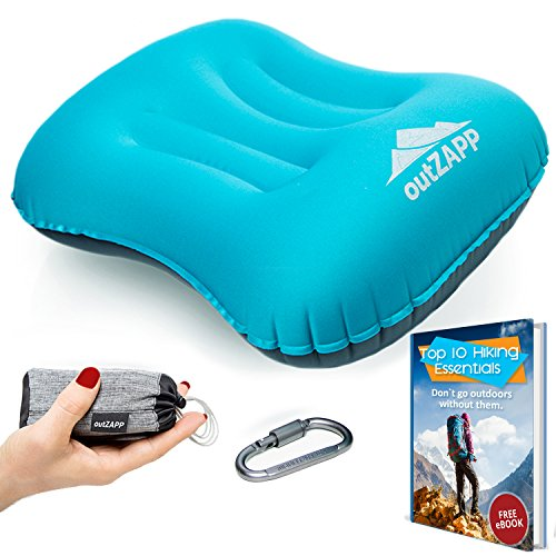 OutZapp Travel Pillow Inflatable for Camping and Hiking Lightweight and Compressible Camping Gear for Men and Women Ergonomic Design for Neck and Lumbar Support BONUS Carabiner Plus Packing Bag
