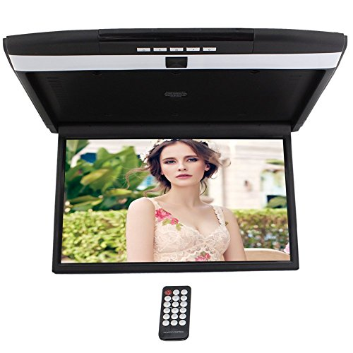 HD 17'' Digital TFT Monitor Car Roof Mount Display for cars Flip Down Monitor built-in FM Modulator Overhead player USB SD 2 Video input