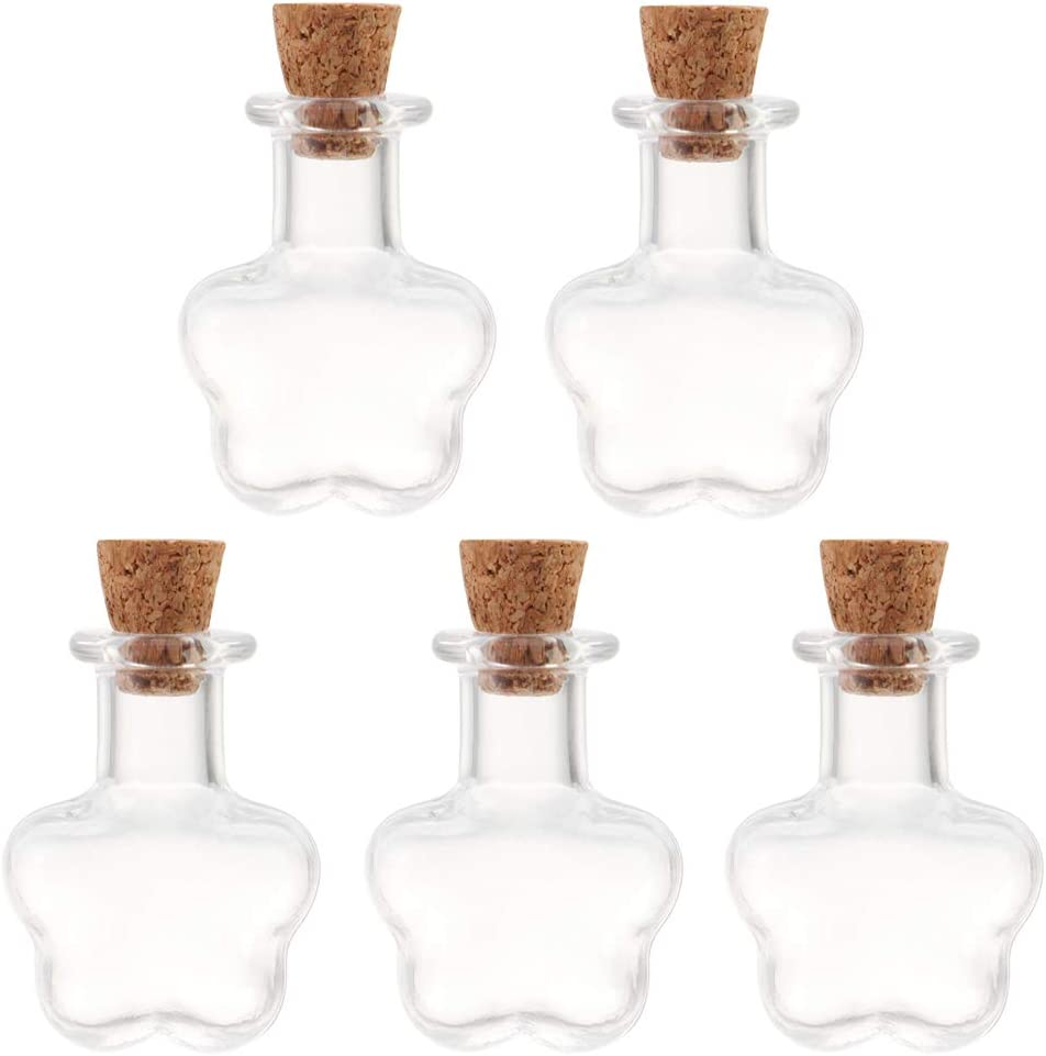 Jewelry Message Glass Bottle Small Wishing Bottles Ball skonhed 5PCS Cork Stopper Glass Bottle Mini Glass Jar for Arts /& Crafts