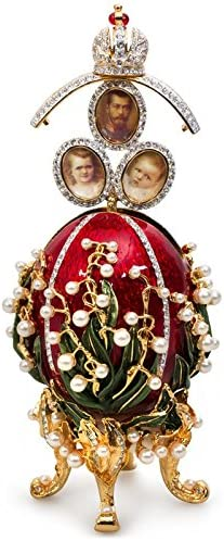 AKM Swarovski Crystals Lily-of-the-Valley Emperor Nicholas II and His Family Red Gold Plated Faberge Style Egg Box Figurine Limited Edition Collectible Faberge Reproduction