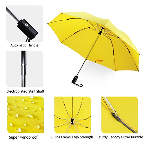 YUSOO Automatic Compact Travel Umbrella with Reverse,210T Auto Open Close Folding Strong Windproof UV Umbrella For Women Men,Yellow by YUSOO (Image #5)