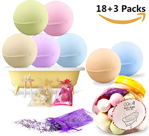 QQcute Bath Bombs Gift Set, 18 Family Spa Vegan Lush Fizzies with Natural Essential Oils,3 Flower Pental Bags, Moisturize Dry Skin, Best Birthday Gifts for Her, Girlfriend, Women, (3 Flowers Healing)