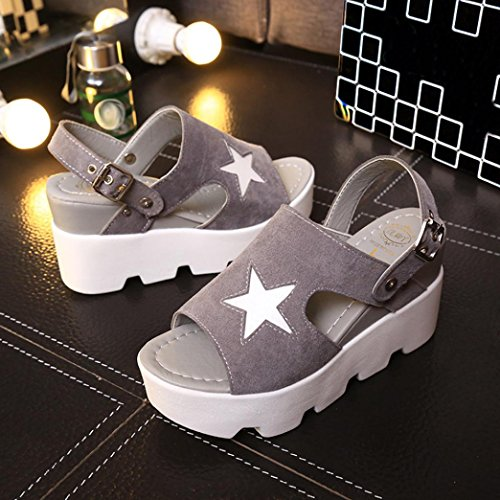 Muium Women Fashion Sandals, Ladies Fish Mouth Platform High Heeled Sandals Buckle Strap Wedges Shoes Gray