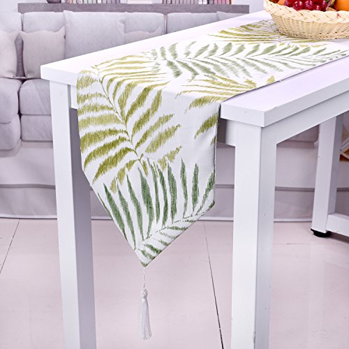 SevenFish Tropical Leaves Polyester Table runners, Hawaiian Luau Party Jungle Beach Theme Decorations for Table Decoration 12 x 95 inches -