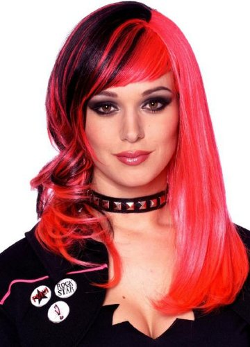 Punked Out Costume (Punked Out Wig (Black/Hot Pink) Adult Halloween Costume Accessory)