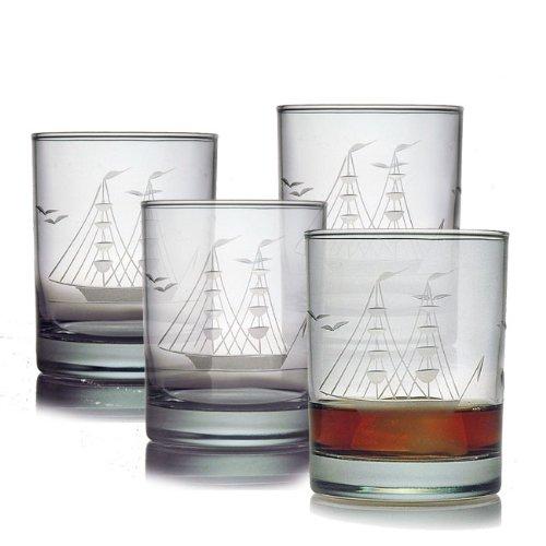 ipper Ship Sand Etched/Hand Cut Rocks Glasses, Set of 4, 14 ounces (Etched Cut Glass)