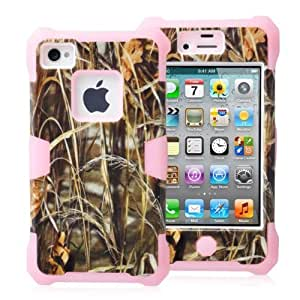 SUPWISER-4GYG-09 Luminous Hard Shell Soft Silicone Hybird Protective Case Cover For iPhone 4 4S-Grass Pink