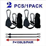 "BloomGrow 2 PCS / 1 Pair 1/8"" 150lb Adjustable Ratchet Hangers Grow Light Rope Ratchet Hangers for Hydroponic Grow Light Fixture (2 PCS/Pair)"