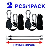 2PCS / 4PCS 1/8'' 150lb Grow Light Rope Hangers for Hdroponic Indoor Grow Lighting (4PCS/Pair)