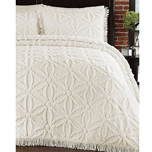Chenille Ivory Fabric - MyEasyShopping Full size Cotton Chenille Bedspread with Flower of Life Pattern and Fringe Edge in Ivory Chenille Bedspread X Cutter Cotton Fabric