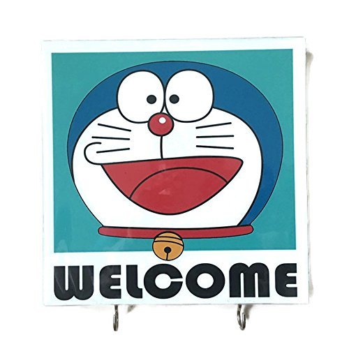 Agility-Bathroom-Wall-Hanger-Hat-Bag-Key-Adhesive-Wood-2-Hooks-Vintage-Doraemon-Welcomes-Photo